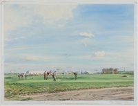 gardner dickinson watches archer putt on the 17th (road hole) alcan tournament, st. andrews by arthur weaver