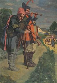 zwei straßenmusikanten auf dem lande by adolf wolf-rothenhan
