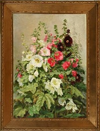 white, rose and dark red hollyhocks by emma auguste loffler