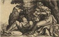 samson und dalilah, pl.9 (from szenen aus dem alten testament) by georg pencz