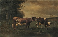 pastoral landscape with grazing cows by scott leighton