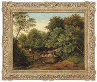 cattle watering in a wooded landscape by julius godet