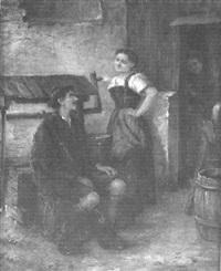 eine bäuerin belauscht das gespräch zwischen einem jungen mädchen und einem jäger by arthur hutschenreuter