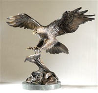 life-size wildlife sculpture, an american bald eagle upon landing, with extended wings by s. koop