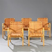 set of five armchairs with birch frame by alvar aalto