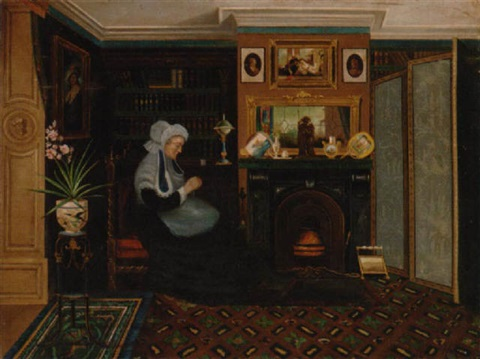 a woman sewing beside the fire by marie j naylor