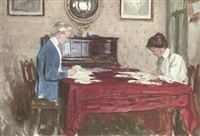 claire goff and rita jacomb-hood reading the morning post at 26 tite street, chelsea by george percy r. e. jacomb-hood
