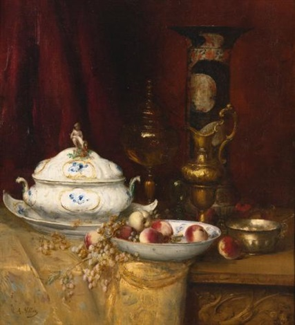 still life of elegant objects by antoine vollon