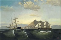 a steam ship passing a danish brig in busy shipping lanes off the rock of gibraltar by c.v. bunch