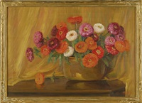still life of a bowl of zinnias on a table by clara l. maxfield