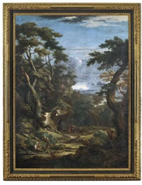 bewaldete felslandschaft mit hirten by pieter mulier the younger