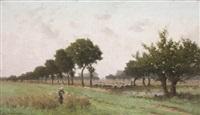 paysage animé de bergers aux vaches by alphonse asselbergs