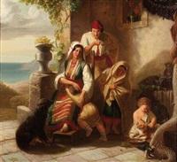 süditalienische bauernfamilie am hauseingang by eduard daege