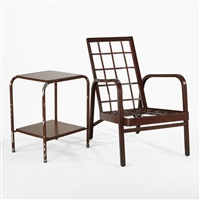 lounge chair (+ side table; 2 works) by jean prouvé and jules leleu