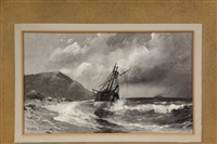 grounded sailing ship, steamer on horizon by fred pansing