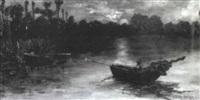 nächtliche seelandschaft mit ruderboot by k. gron-sattelmaier