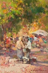 angolo di mercato tra gli alberi, vicchio di mugello by giulio da vicchio