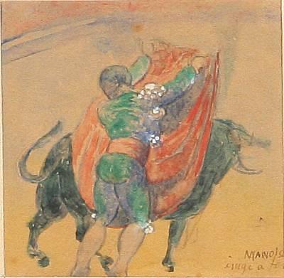 bullfighter (+ portrait of tora (adam and ellen fischer's daughter), charcoal, lrgr; 2 works) by manolo (manuel hugue)