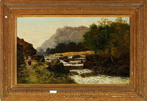 mountainous landscape with roaring river by c austin