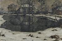 niederrheinische dorflandschaft im winter by alfred rasenberger
