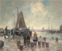 fischhandel in einem holländischen hafen by fritz moritz