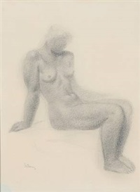 female nude, seated by gerhard henning