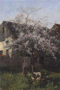 frühling in dachau-etzenhausen: bauernmädchen mit lamm und hühnern unter einem blühenden obstbaum vor dem gehöft by johannes leonhard