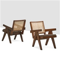 lounge chairs from the chandigarh administrative buildings (pair) by pierre jeanneret