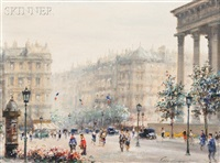 place de la madeleine and boulevard des italiens (2 works) by paul gagni