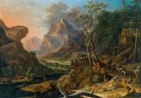 reisende in einer berglandschaft by franz christoph janneck