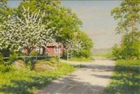 landskap med blommande äppelträd längs byväg by johan fredrik krouthen