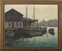 boats at dock by hjalmar amundsen