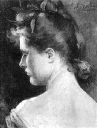 portrait einer dame im verlorenen profil by jules louis machard