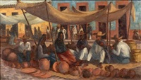 market scene (+ another; 2 works) by salvatore l. aucello