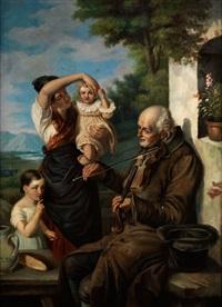 alter bettelmusikant mit geige spielt vor einer jungen bäuerin mit zwei töchterchen by joseph haier