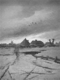 winterabend vor dem dorf by a. kreutzer