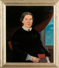 portrait of a woman holding a daguerreotype by william w. kennedy