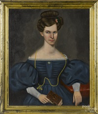 portrait of a woman in a blue dress by erastus salisbury field