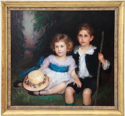 portrait of young siblings by lydia field emmet