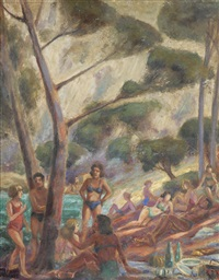 depicting beach goers in bathing suits among trees with a body of water in the background by lucien a. labaudt