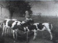 maiden feeding calves by clarence drew bartlett