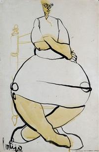 mujer sentada cruzada de brazos by francisco cortijo