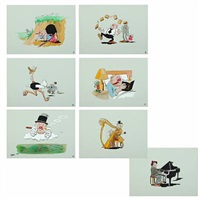 scenes with w.c. fields and marx brothers (set of 7) by peder bundgaard