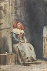depicting a young italian woman with a red head covering knitting in a courtyard by cesare biseo