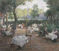nachmittag in einem gartencafé by august böcher