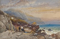 figures with beached boats on a rocky shoreline, early evening by james burrell smith
