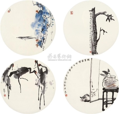 flowers and birds 4 works by liu zhaoping