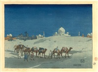 agra or caravan at night by charles william bartlett
