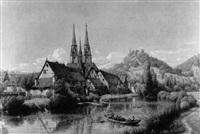 marburg mit elisabethkirche und lahn by peter becker