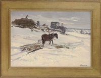 workers in the field (+ stopping to feed the horses, 1964; 2 works) by leonid ignatevich vaishlya